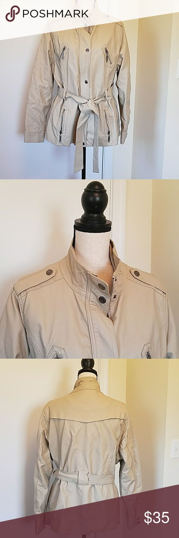Jou Jou Faux Leather Belted Plus Jacket size 2X Great neutral beige color that will go with everything.   Belt ties at waist...lots if pockets, too!  Excellent condition. Jou Jou Jackets & Coats