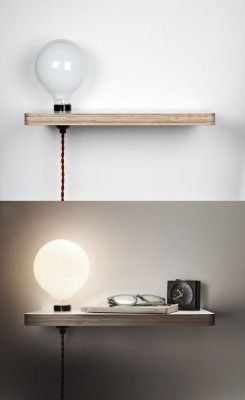 Tiny lamp nightstand (via Blogbloeme I Stylingsinja, source unknown)