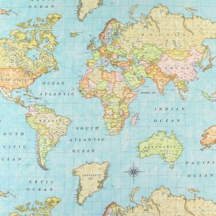 Tissu Déco Map of the World Tissus Hemmers en 2020
