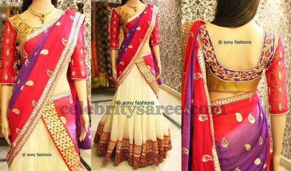 Mango Work White Half Saree | Saree Blouse Patterns