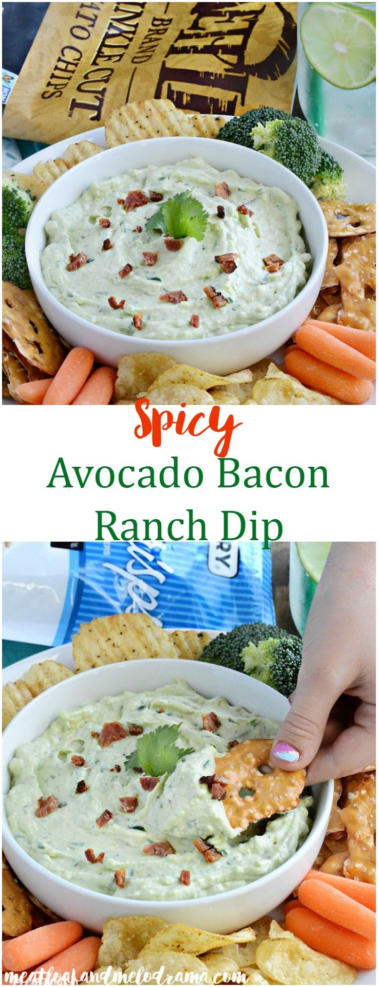 Spicy Avocado Bacon Ranch Dip - A light, fluffy dip that's perfect for your snack or appetizer table on game days, parties or anytime! AD #TheNewFanFavorites @kettlebrand @pretzelcrisps