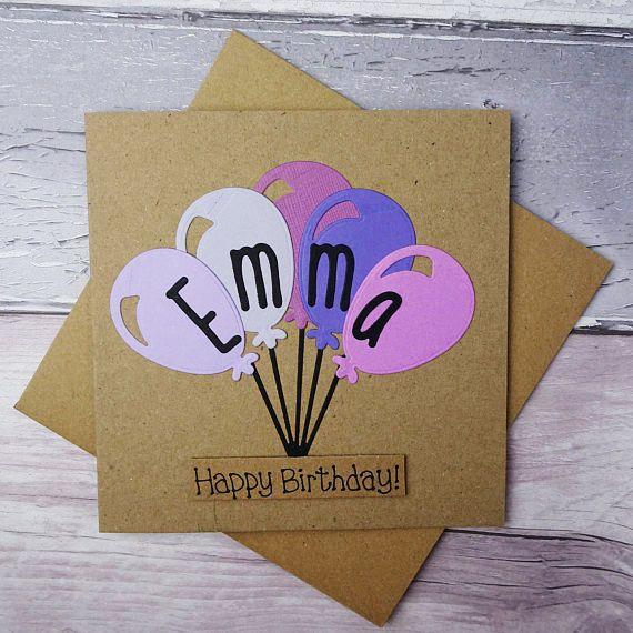 Birthday card with a name Handmade Happy Birthday card