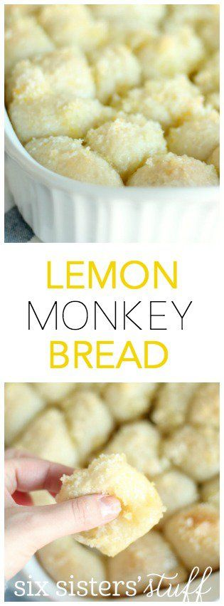 Easy Lemon Monkey Bread from SixSistersStuff.com | Delicious rolls covered in a sweet, lemony glaze!