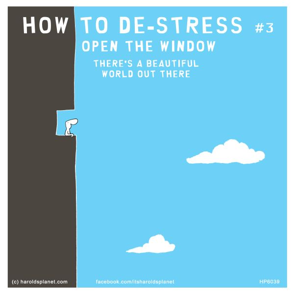 HOW TO DE-STRESS #3: OPEN THE WINDOW, THERE'S A BEAUTIFUL WORLD OUT THERE