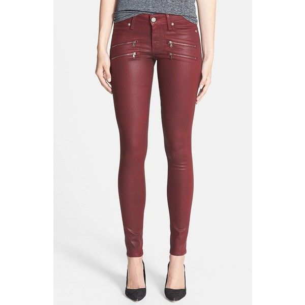 Women's Paige Denim 'Edgemont' Coated Ultra Skinny Jeans ($250) ❤ liked on Polyvore featuring jeans, red jeans, red leather skinny jeans, leather jeans, paige denim jeans and paige denim
