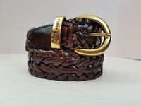 Perry Ellis Women's Or Men's Braided Leather Belt Brown Brass Buckle Size M/L