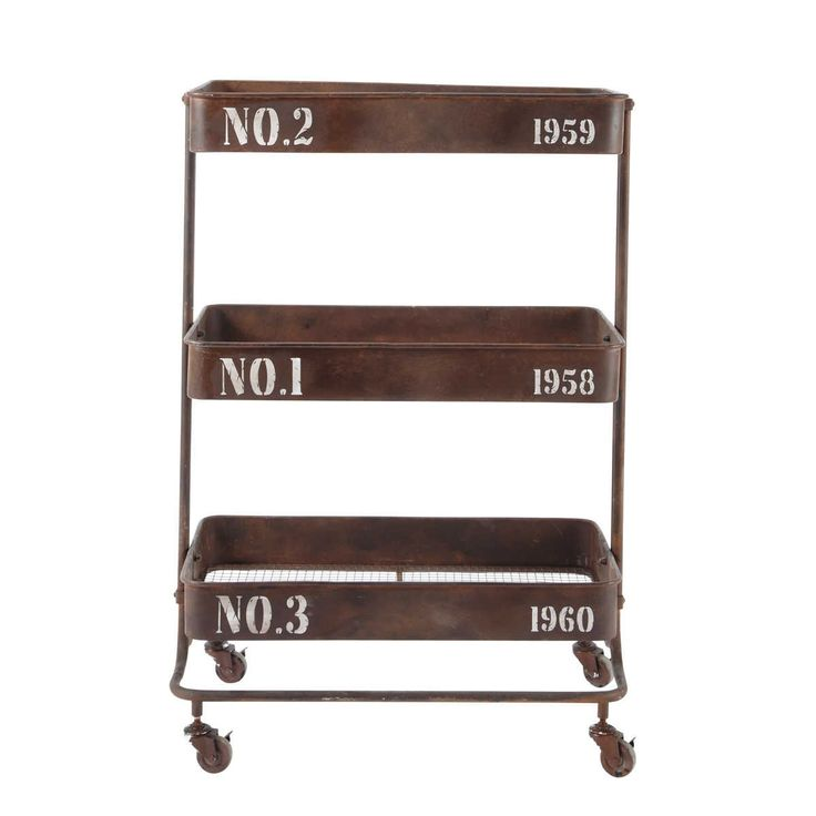 This metal trolley on wheels with numbered shelves could be filled with pots / tubs of flowers and herbs