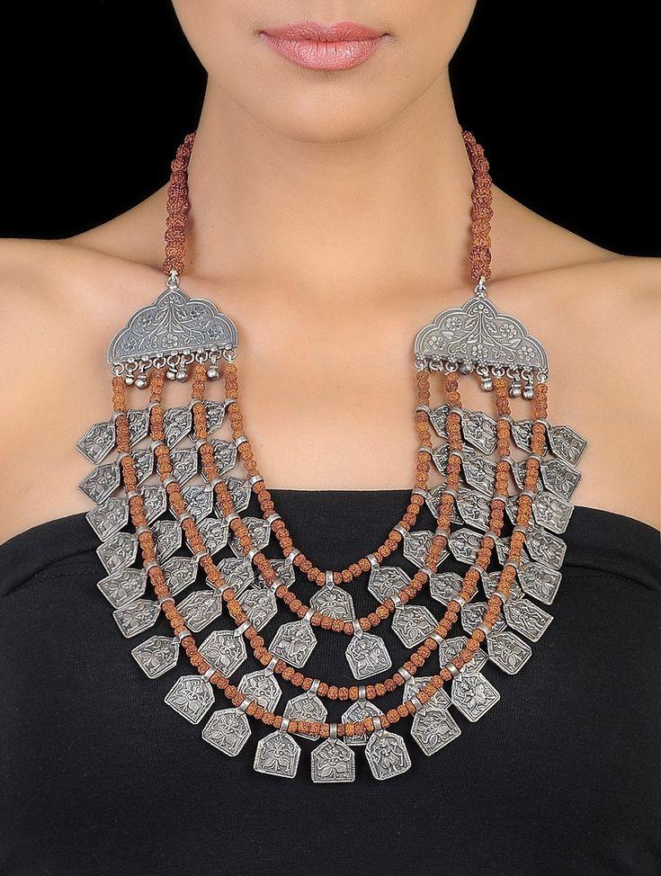 Brown Floral Rudraksh Silver Beaded Necklace on Jaypore.com
