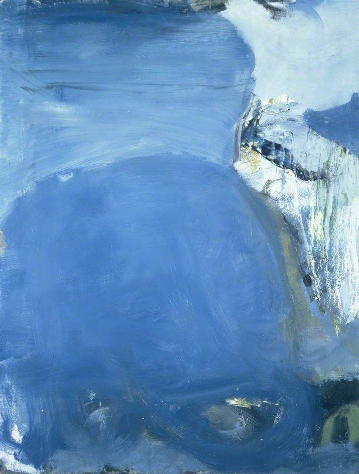 """Silent Coast (1957) by Peter Lanyon. """"It was a very calm picture, with everything simplified and pushed right to the edges. I painted it from very high up, looking down on a broad expanse of coast. Everything was still and slow moving..."""" Earlier in 1957, Lanyon met Rothko in New York."""