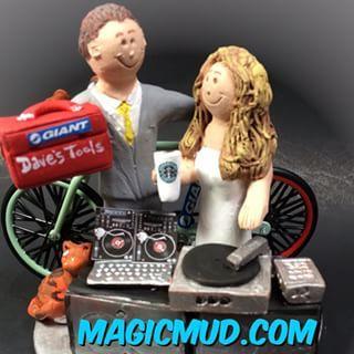 #wedding #weddingCakeTopper #weddingcaketoppers #DJ #discjockey #bicycle #biker #starbucks #turntable custom made by magicmud.com