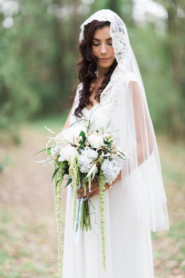 Bride With Lace Edged Veil    #wedding #weddings #weddingideas #aislesociety #engaged #bridalstyle