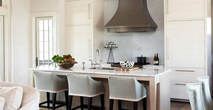 Кухонная столешница из белого мрамора