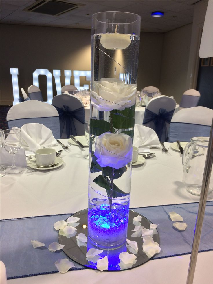 Tall Cylinder Vase Centrepiece With White Roses Subm