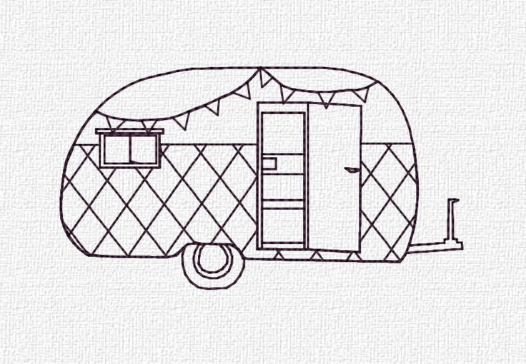 Redwork Retro Camper by Katie Lyons  --------------------------  *This is a Machine Embroidery pattern. You must have an embroidery machine to use this item.*  --------------------------  Finished measurements are:  Mini - 1.01h x 1.84w Stitch Count - 1,326  Small - 1.29h x 2.31w Stitch Count - 1,627  Regular - 1.88h x 3.39w Stitch Count - 2,430  Medium - 2.64w x 4.84w Stitch Count - 3,390  --------------------------  Instant download in the following formats (screen shot of color chart is…