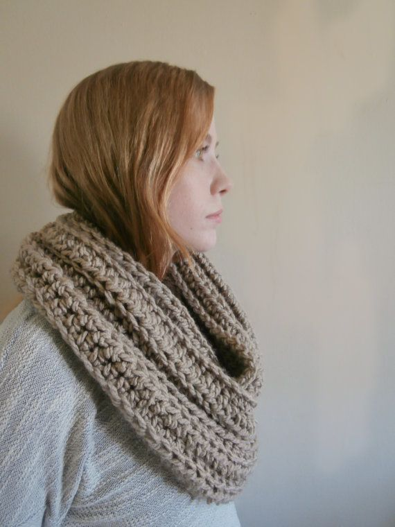 PreFall Sale Crochet Infinity Scarf Taupe by PreciousLambKnits
