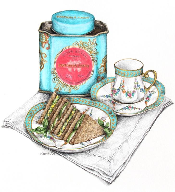 Beautiful Tea Cup Illustration : Antique Tins  / Cucumber Tea Sandwiches