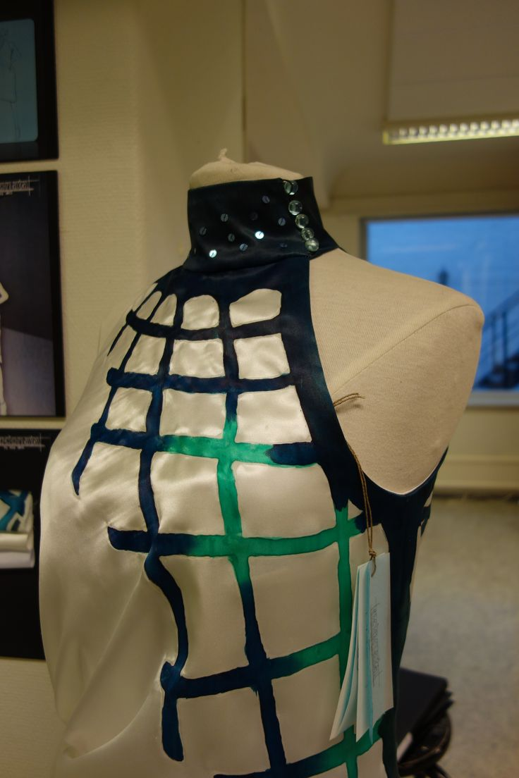 """""""odonata"""" by nina dirix; inspired by the dragonfly; silk dress with handpainted pattern"""