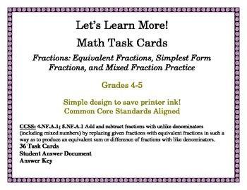 Fraction Task Cards: Equivalent Fractions, Simplest Form F