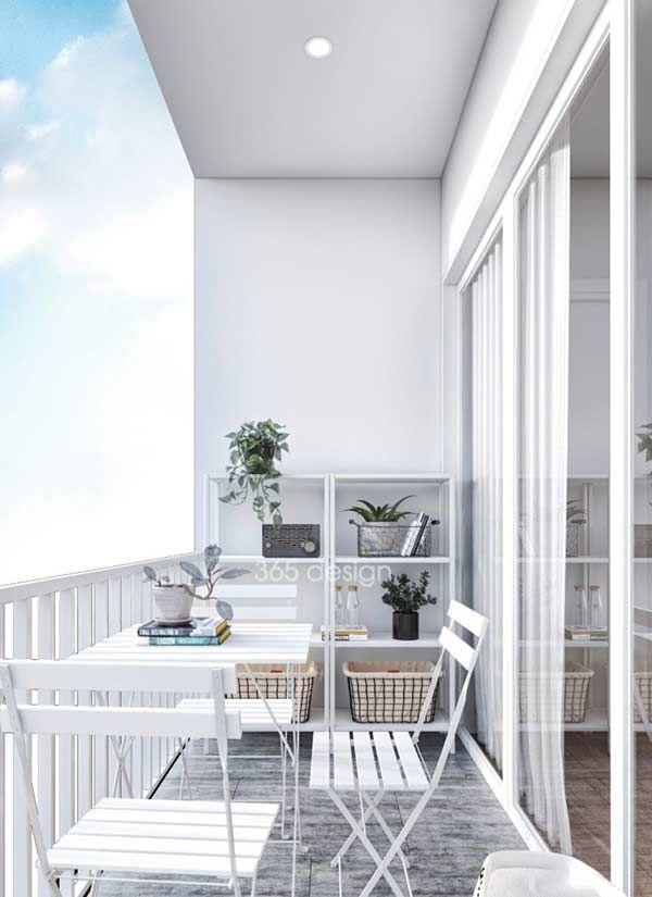 Aproveite mais o espaço posicionando a mesa junto ao guarda-corpo / grade