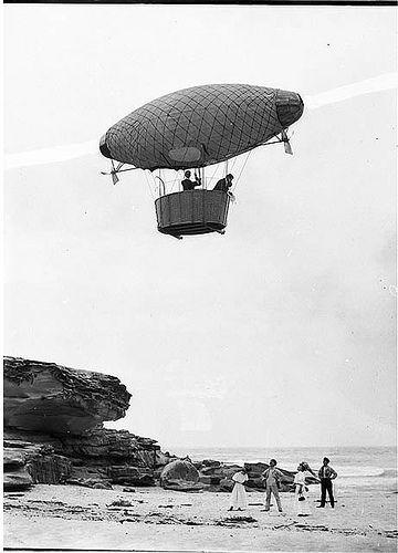 """Dirigible"" over Tamarama, 1908, Hall & Co. by State Library of New South Wales collection, via Flickr"