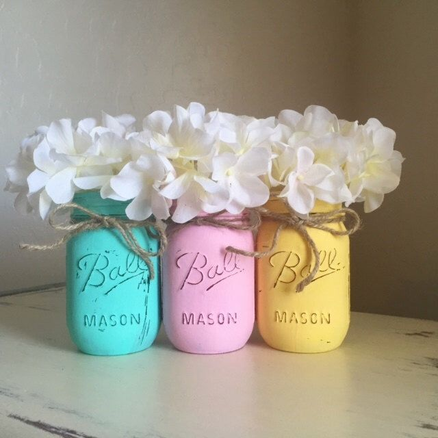 Mason Jar Home Decor, Spring Decor, Easter Decorations, Distressed Mason Jars, Baby Shower Decorations, Shabby and Chic, Nursery Decor by MyHeartByHand on Etsy https://www.etsy.com/listing/242764062/mason-jar-home-decor-spring-decor-easter