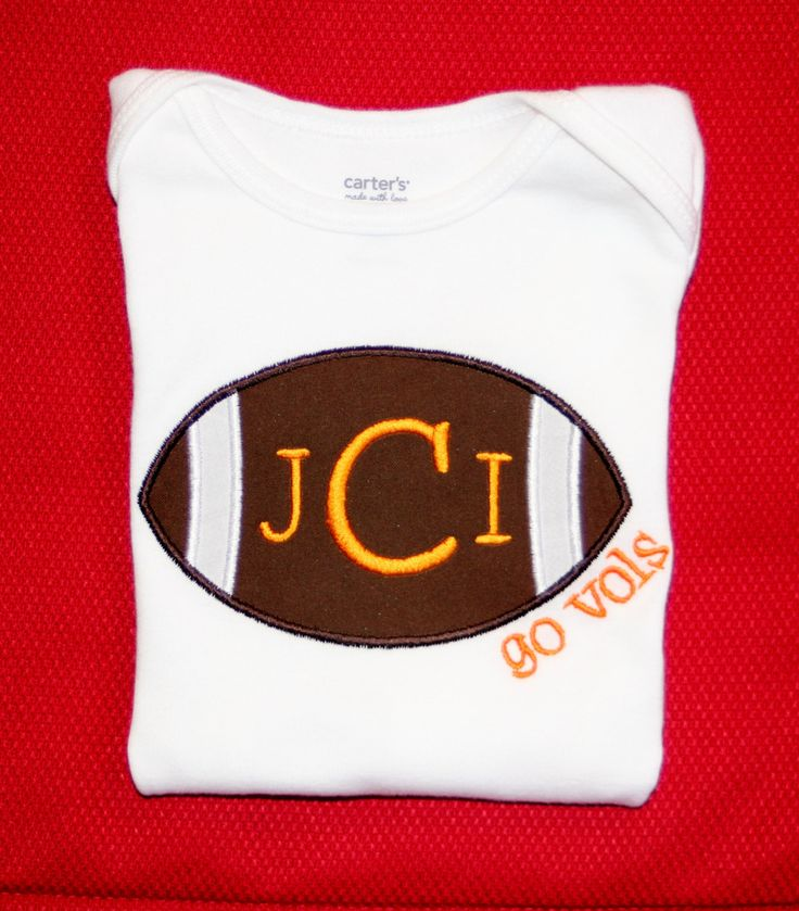 Go Vols Tennessee Game Day Football Bodysuit or Tee with Name or Monogram - Can customize for any team! by BebesStitches on Etsy https://www.etsy.com/listing/196608654/go-vols-tennessee-game-day-football