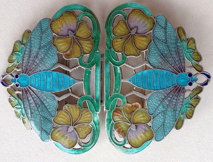 Art Nouveau Insect Enamel Buckle