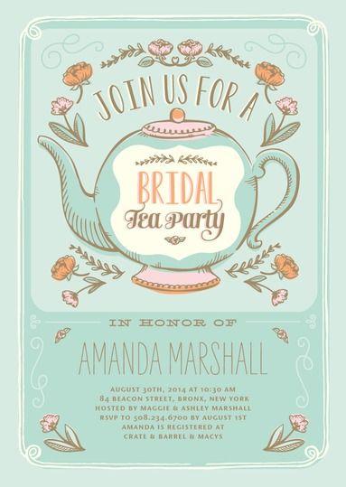 Tea Poppies - Signature White Bridal Shower Invitations in Sea Glass or Fresco Cream | Elk Design