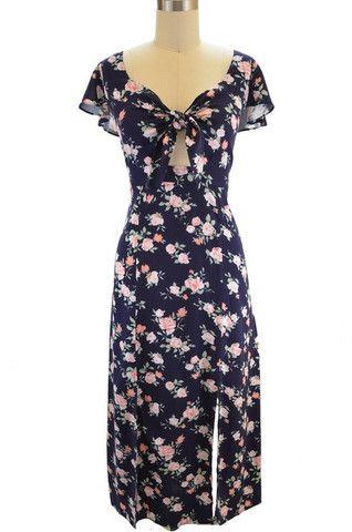 romantic boho midi grunge dress - navy floral  $45.00