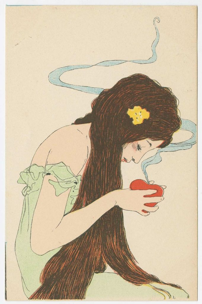 Woman holding a smoking heart (from the series Love Thoughts) 1900. Postcard by Raphael Kirchner (1876–1917). Publisher Marcus Munk Image and text courtesy MFA Boston.