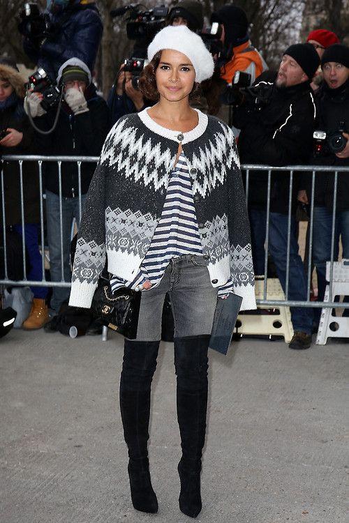la Modella mafie Chanel Spring 2014 Couture Fashion Week v Paříži street stylu - Miroslava Duma
