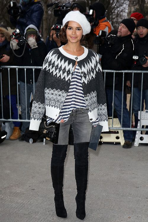 Chanel Spring 2014 Couture fashion week in Paris street style - Miroslava Duma