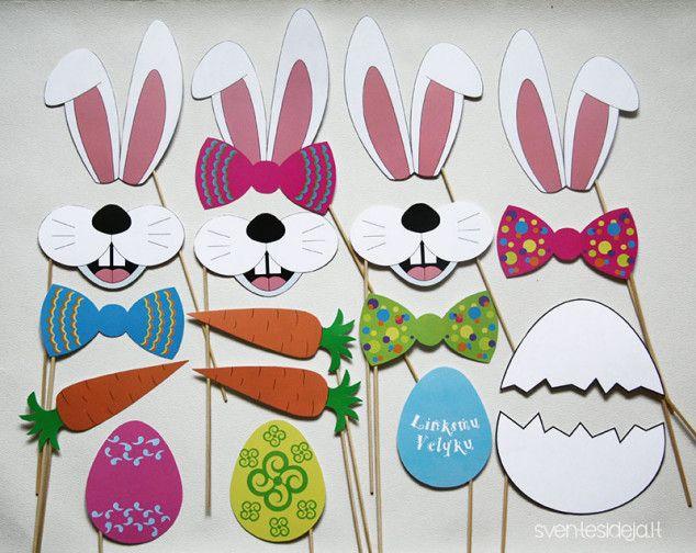Velykų fotosesijos foto rekvizitai | Šventės idėja Easter photo props: rabbit, Easter eggs, carrot