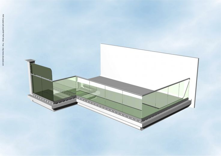 Structural Glass Balcony with drainage CAD image