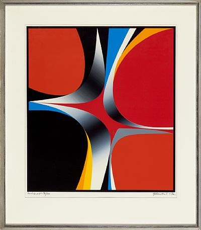 GUNNAR S. GUNDERSEN FORDE 1921 - BÆRUM 1983  Composition in red, black and orange, 1970  Fargeserigrafi, 96/100. 58x52 cm  Signed and dated lower right: Gunnar S. -70