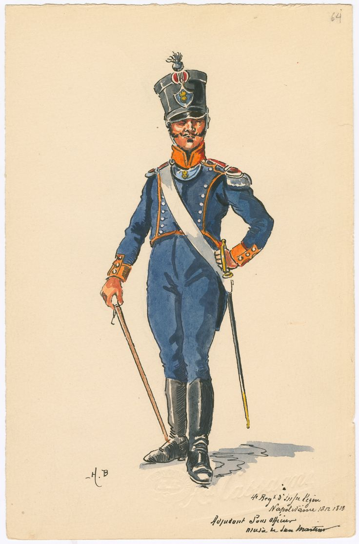 Kingdom of Naples; 4th Light Infantry, Adjudant Sous Officier 1812-13 by Henri boisselier
