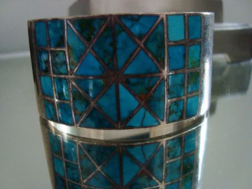 Native-American-HEAVY-Vintage-Silver-Turquoise-Inlay-CHANNEL-Cuff-Irma-Hotel