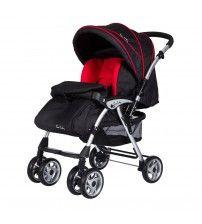 Pierre Cardin Bolton Çift Yönlü Bebek Arabası Siyah Kırmızı