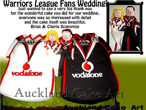 Brian and Cherie Scampton's Warriors Wedding Cake #Warriors #Wedding #Cake