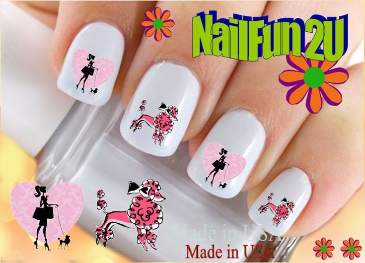 "RTG Set#144 DOG BREED ""Pink Poodle 2"" WaterSlide Decals Nail Art Transfers Salon #Handmade"