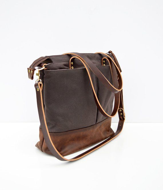 Diaper Backpack Bag Leather And Waxed Canvas Convertible Backpack Baby Bag Brown Waxed Canvas And Brown Leather With Images Leather Backpack Unisex Leather Diaper Bags Bags