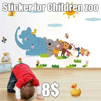 Sticker for Children zoo  Beautiful and colorful sticker on the wall of a child's room. It makes the interior will be a joyful and radiant. This decoration is also developing curiosity, creativity, teach colors and animal names. Things your child a lot of joy and grant him a gift, decorate the room. https://www.cosmopolitus.com/removable-elephant-monkey-wall-sticker-kids-room-decor-decal-p-219536.html?language=en&pID=219536 #sticker #decoration #children #zoo #colorful #decor #science #fun