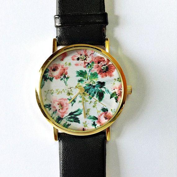 Floral Watch, Vintage Style Leather Watch, Women Watches, Unisex Watch, Boyfriend Watch, Black, Tan,