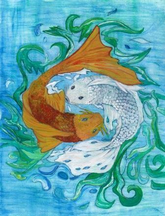 Two Koi: watercolour