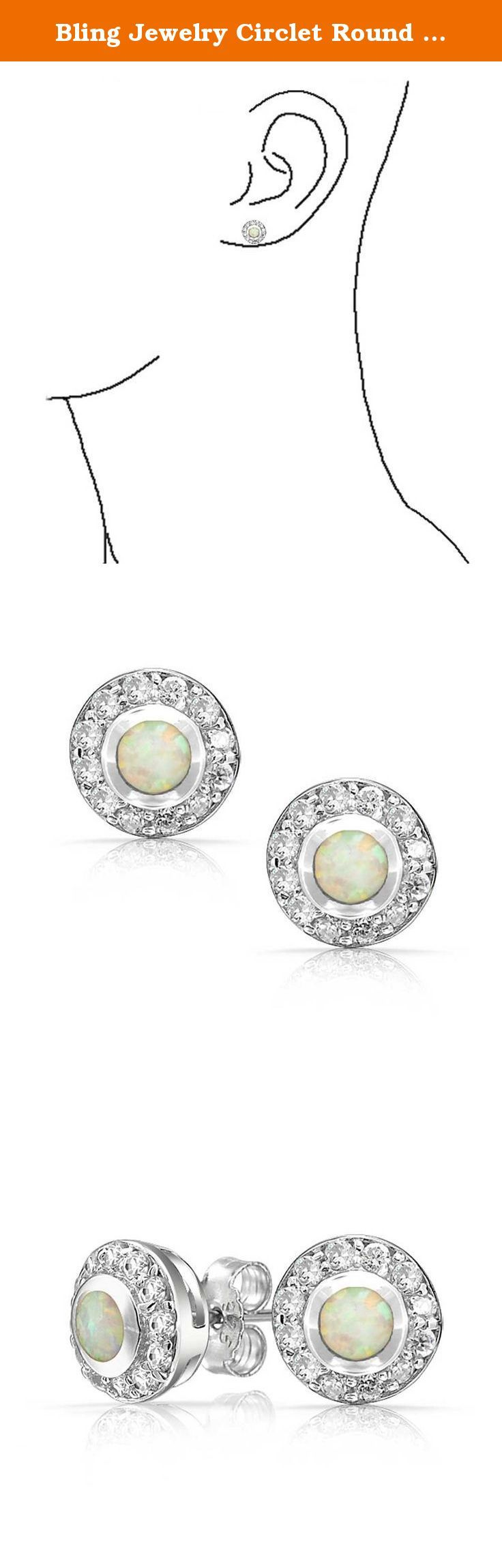 Bling Jewelry Circlet Round Synthetic White Opal Inlay Stud Earrings 925 Silver. October birthdays have never been more fun to celebrate with jewelry. Our CZ stud earrings are a perfect way to get the party started. Synthetic Opalescence means play of color. The Synthetic Opal in the center of our circle stud earrings emits a rainbow of colors, depending on the way the light hits the stone. Its radiance draws attention to this lovely piece of jewelry that is a must have item to add to…