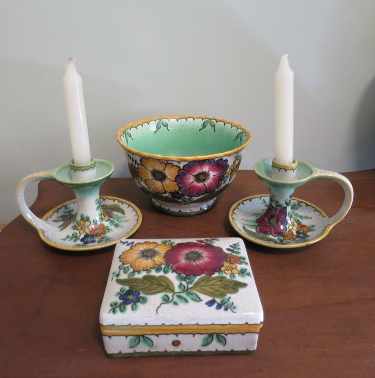 Royal Gouda Pottery Areo Floral Pattern 4 Pc. Royal Zuid Holland 1948 Compote Bowl Candlesticks Cigarette Box Green Gold Burgundy Flowers by BonniesVintageAttic on Etsy