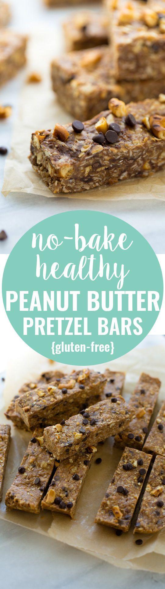 No-Bake, Healthy Peanut Butter Pretzel Bars! Honey-sweetened and so ...