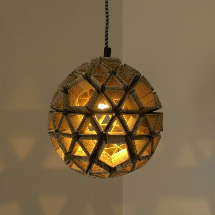 Snapology origami paper lamp - book pages! Use LED bulb = no fire hazard!