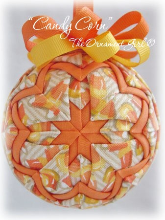 Candy Corn( Halloween ornaments)     Handcrafted with Longaberger® fabric...
