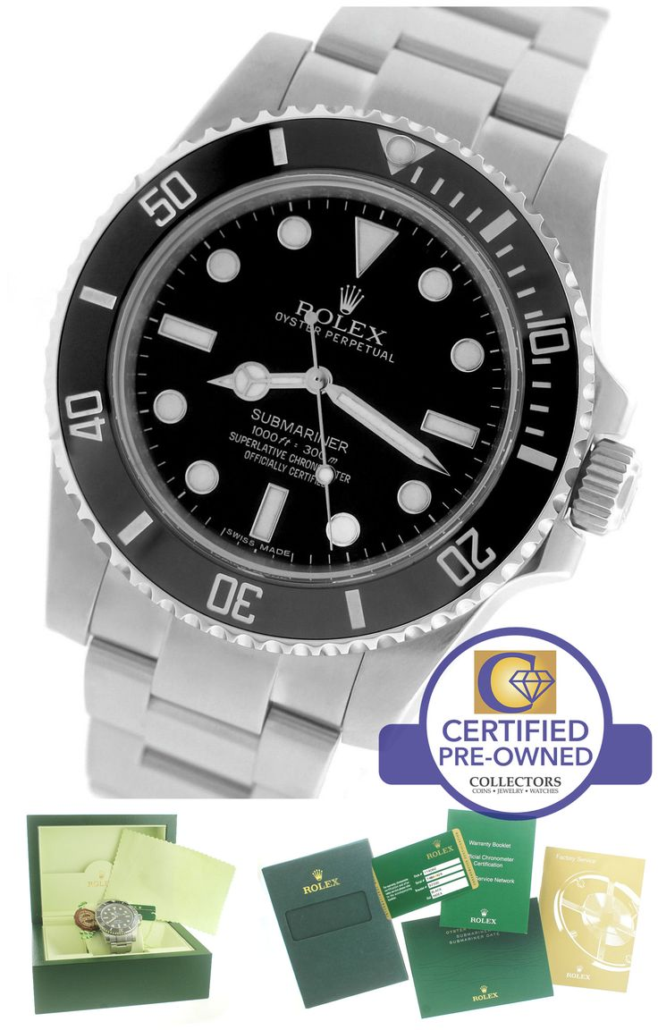 MINT Rolex Submariner No-Date 114060 Stainless Black Dive Ceramic 40mm Watch